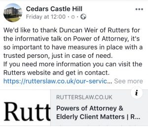 Rutters Solicitor Shaftesbury Dorset talk on Last Powers of Attorney