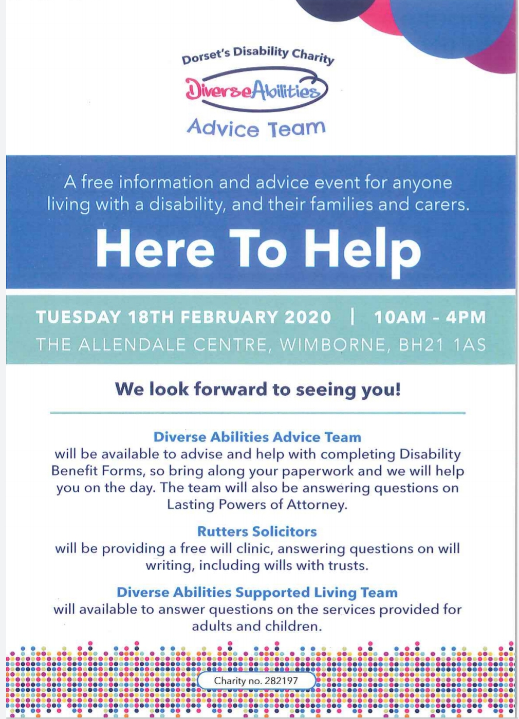 Rutters Solicitors support Diverse Abilities wills and trust solicitor advice Dorset